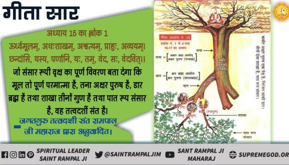 #HiddenTruthOfGita Bhagavad Gita Chapter 15 verses 1  Only TATVDARSHI Saint knows upside-down tree in details and can elaborate the essence is ignorant in Shastras and impartthe worshipof three times.  🙏 -@SaintRampalJiM   👇 #tuesdaymotivations  #tuesdayvibe