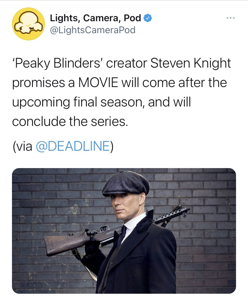 Replying to @barstoolsports: By order of the Peaky Blinders, we are getting a MOVIE @LightsCameraPod