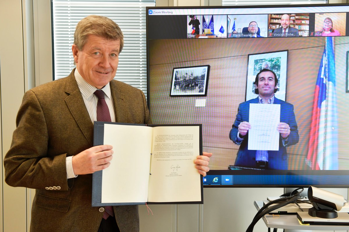 Delighted Chile has ratified the @ILO Forced Labour Protocol, which calls on all ratifying States to adopt effective measures to #EndSlavery  It shows Chile's commitment to fundamental labour rights and more broadly to achieving decent work and the #SDGs.