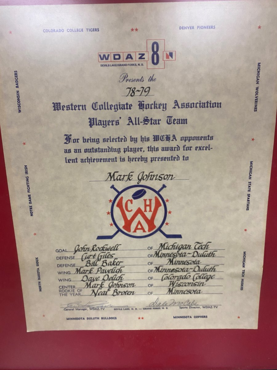 Back in the day, a North Dakota TV station compiled All-WCHA teams based on polling of players from around the league. No surprise that Mark Johnson, now the @BadgerWHockey coach, was chosen in 1979. He was the league MVP after totaling 41 goals and 90 points for @BadgerMHockey.