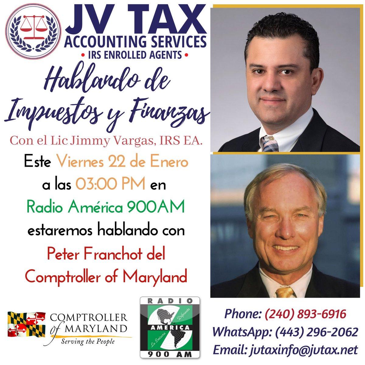 """Escuche nuestro programa """"Hablando de Impuestos y Finanzas"""" en vivo y en Facebook Live por Radio América, estación 900AM todos los Viernes a las 3pm.  Este viernes con Peter Franchot del Comptroller of Maryland.   #Radio #Viernes #RadioAmerica #900AM #Impuestos #Finanzas"""