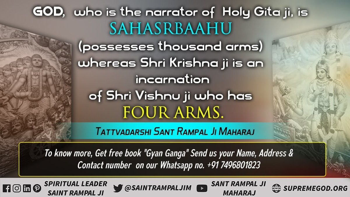 #HiddenTruthOfGita  For the actual devotional method, the Gita Gyan Prabhu (Brahma) asks to search for an Tatvdarshi Saint (Gita Chapter 4 Verse 34)   This is proven by the Bhakti method described by the Gita Gyan  (Brahma) is not complete  @SaintRampalJiM