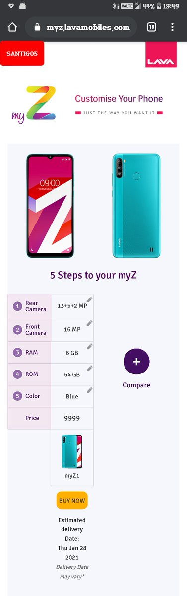@LavaMobile Here is my creation using best combinations of myZ on    ☞ myZ1 📲 Rear camera : 13+5+2 MP Front camera : 16 Mp RAM : 6GB ROM : 64GB COLOUR : BLUE PRICE ₹. 9999 /-   #BuildYourMyZ @LavaMobile  Join ヽ(◕o◕)ノ. @Priyank42991240 @iMRobii @pankajsingh630