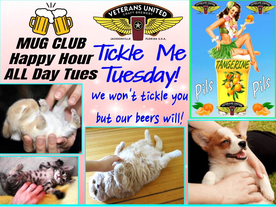 We have what ALES you w/ 21 VUs on TAP! 🍺  🍺MUG Club!  OPEN @ 3PM!  #beeroclock #CraftBeer #Jacksonville #MugClub #beer #bellyrubs #tickle #Tuesday #tickletummy #Dog #dogs   #tuesdayvibe #tuesdaymotivations #dogsoftwitter  #brewery #destination #cats #CatsOfTwitter #cat #rabbit