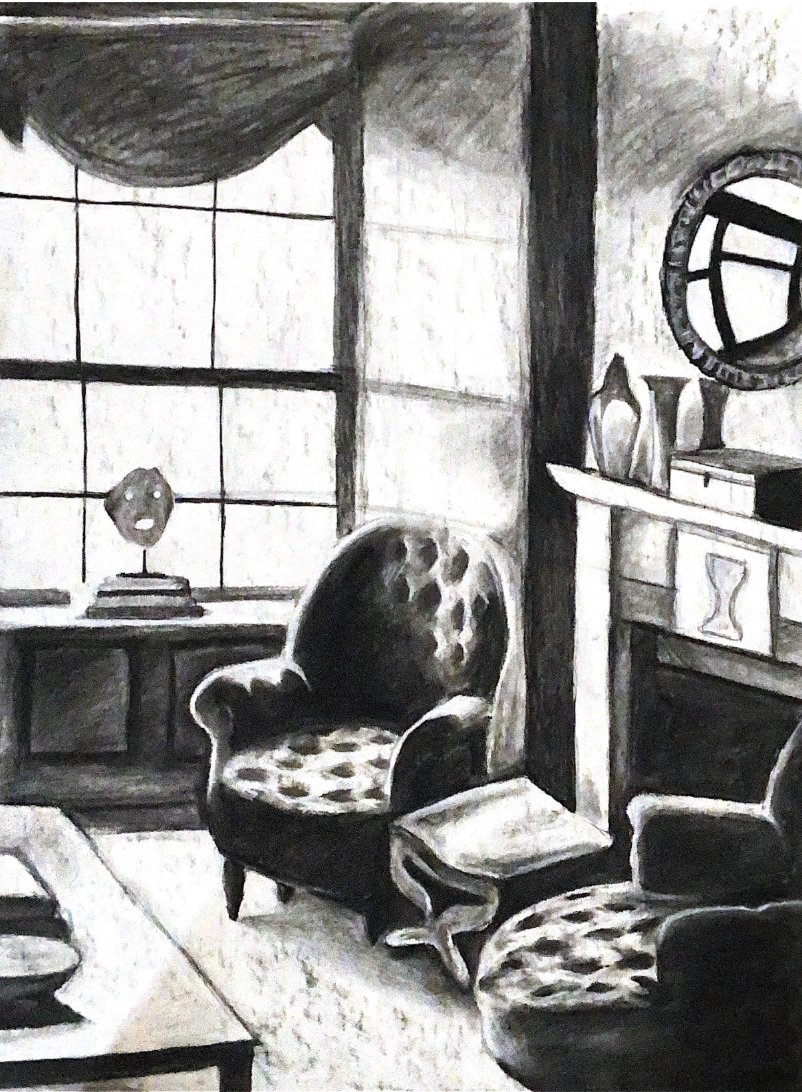 Oh, Ruby. The drama of it all! I want to cozy up in that chair. Students were given the choice of color or black and white interiors for their final project. Good choice, kid. LOVE this.