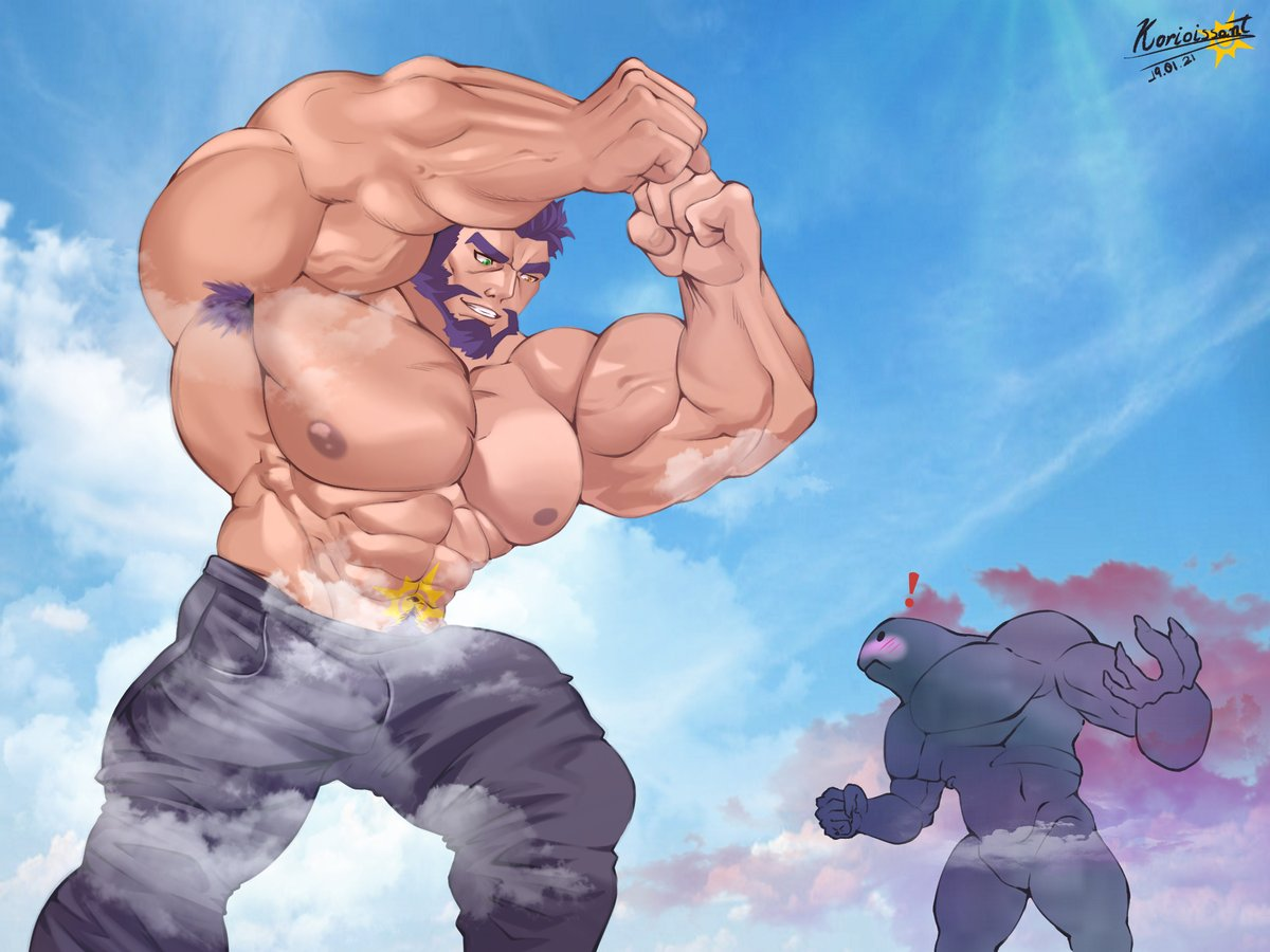 Giant Kori Vs Soul Monster Ever since Haro decided to take a vacation, these Soul Monsters have been constantly appearing. fav me: deviantart.com/korioissant/ar… #bara #big #muscle #muscles #giant #giantgrowth #macrophile #macro #originalcharacter