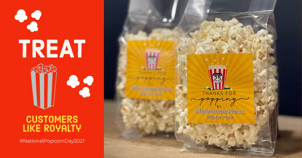 Treat bags (and labels) are a great way to spread your brand message for #NationalPopcornDay #wecanhelp @MMPressWP  . #labeldesign #labels #labelprinting #popcorn #thanksforpoppingby #branding #winterpark #tuesdaythoughts #treatbag #winterparkprinter #winterparkfl