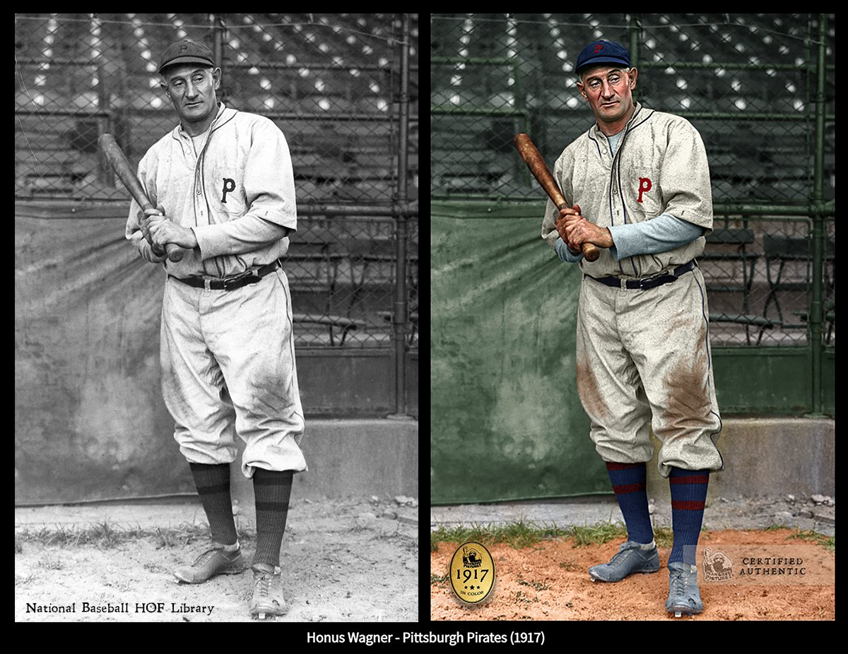 Seen here his 21st season in #MLB , does he look 43? This is our touch of color to bring the great #HallOfFame 'er Honus Wagner to life in his final season of 1917. Is the 8 x NL Batting Champ the greatest SS ever? @OddPittsburgh @baseballhofshop @OTBaseballPhoto @nut_history