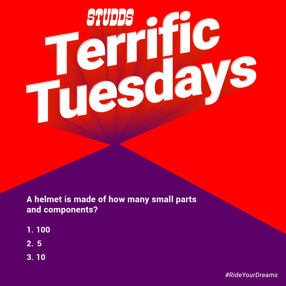 #TerrificTuesdays- Question of the week. Post the right answer and win an exciting #Studds helmet.  #ContestAlert #StuddsHelmets #BeSafe #BeStylish  PS:Helmet model and colour is subject to availability.