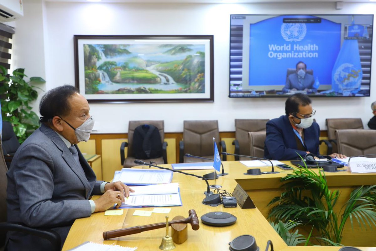 Chaired proceedings on Day 2 of the 148th session of @WHO Executive Board, via VC today.  We held detailed deliberations on strengthening preparedness & response to public health emergencies.   @MoHFW_INDIA @WHOSEARO