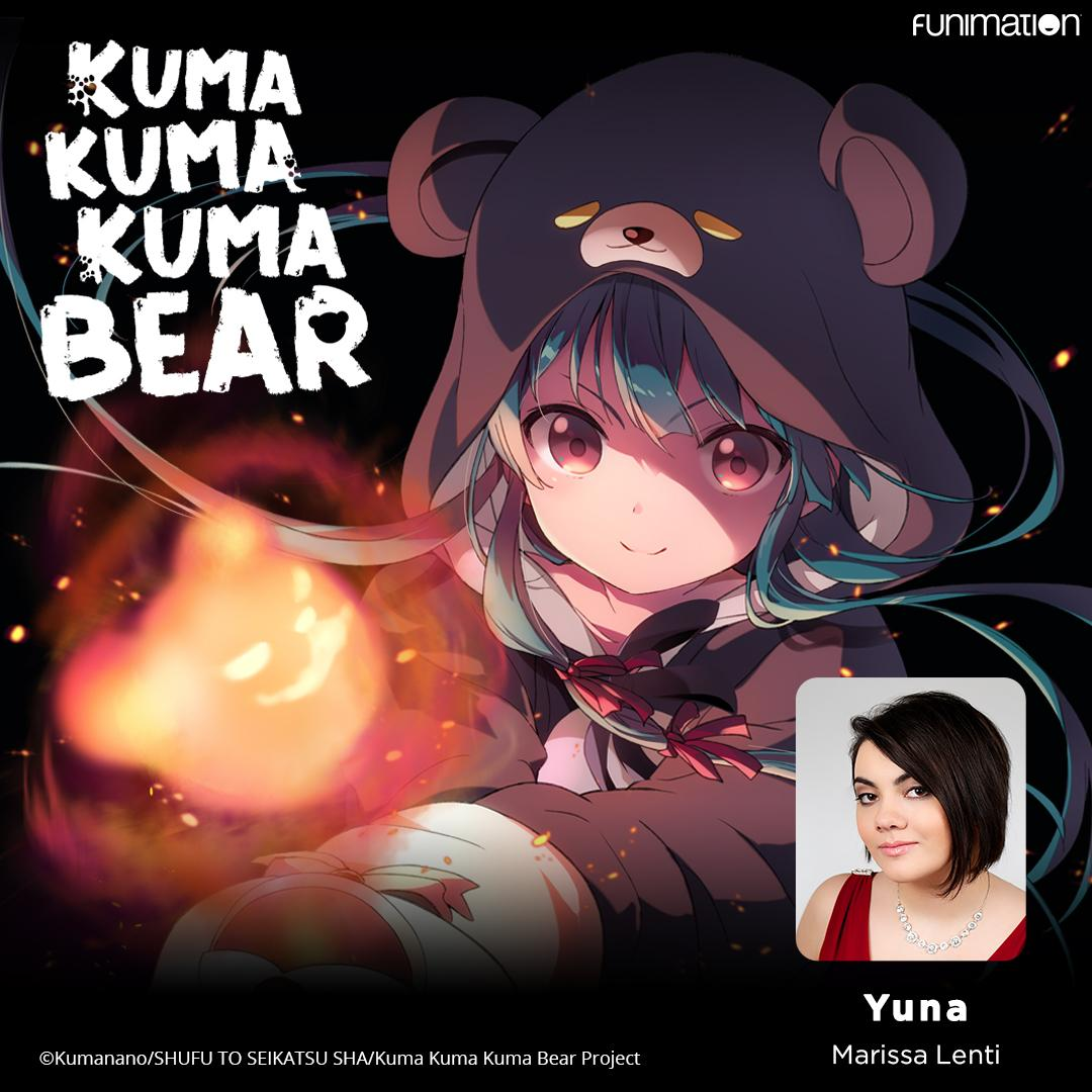 Get ready for an adventure with a powerful hero in... a bear costume? 🐻  Welcome @MarissaLenti as the English voice of Yuna! Kuma Kuma Kuma Bear premieres dubbed tomorrow!  Check out more cast and crew: