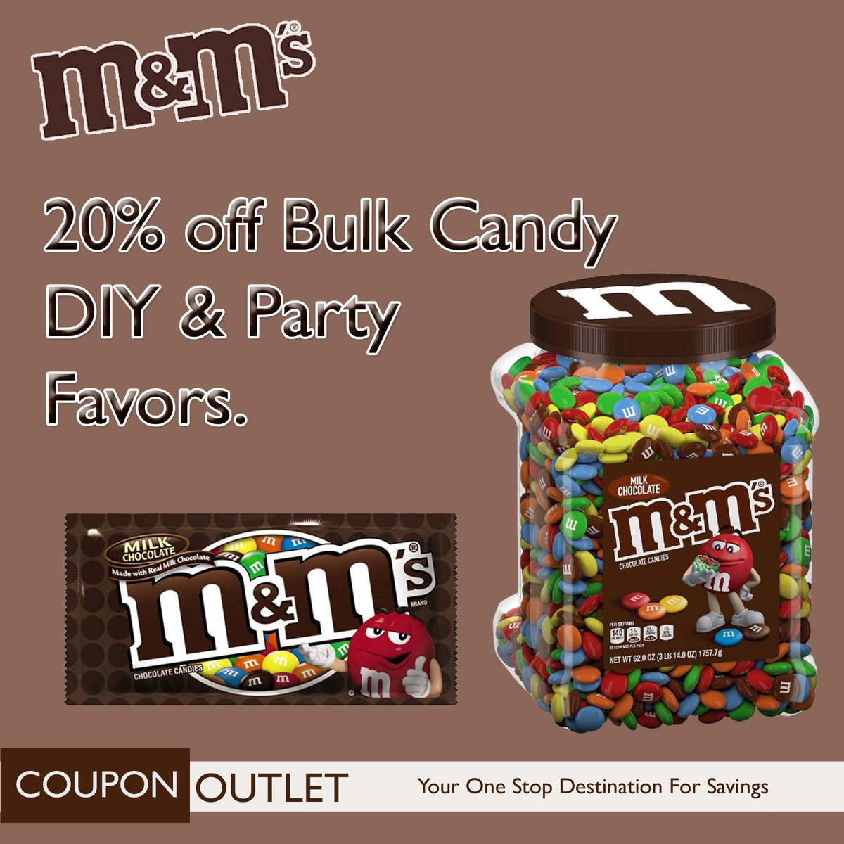 Make it a sweet celebration with 20% off Bulk Candy DIY and Party Favors from M&M'S.  #couponoutlet #coupons #mms #celebrate #party #candy #yum #celebration