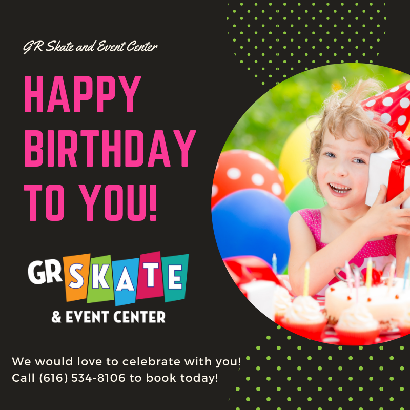 Celebrating your birthday soon? We would love to party with you and your family at our super clean, newly remodeled facility! Call (616) 878-7100 and book your party today! #birthday #party #gr_skate