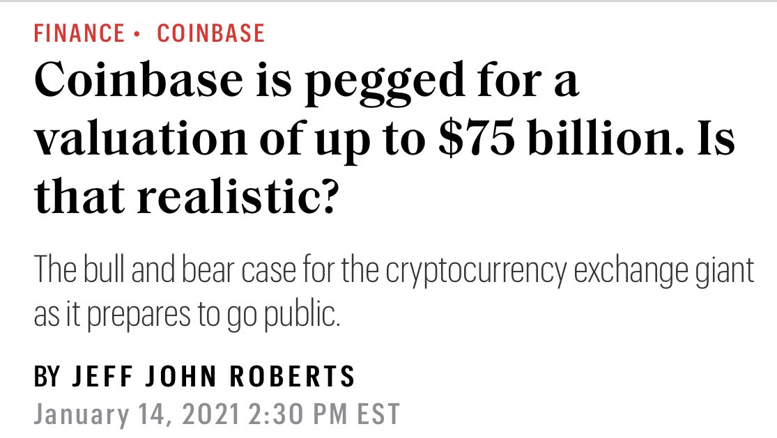 When I think about Coinbase getting a $75B valuation 🤯🤯... aren't they just a glorified $SCHW? #Crypto #tuesdayvibe