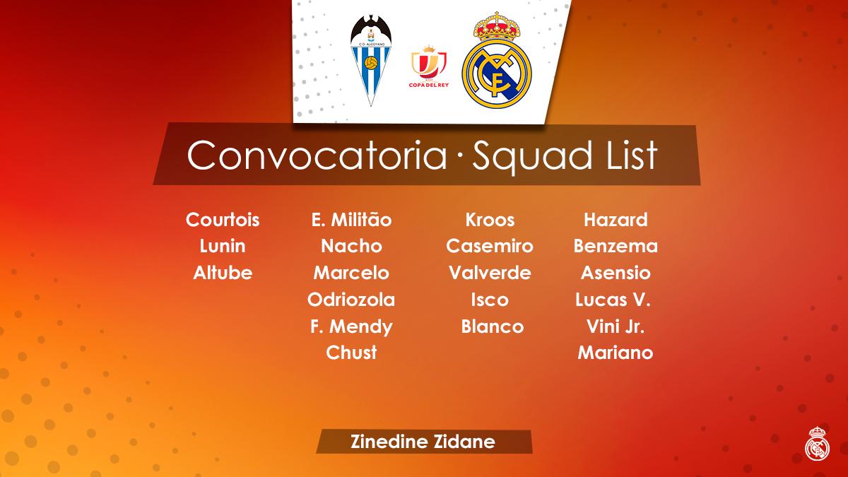 La convocatoria completa del Real Madrid ante el Alcoyano.