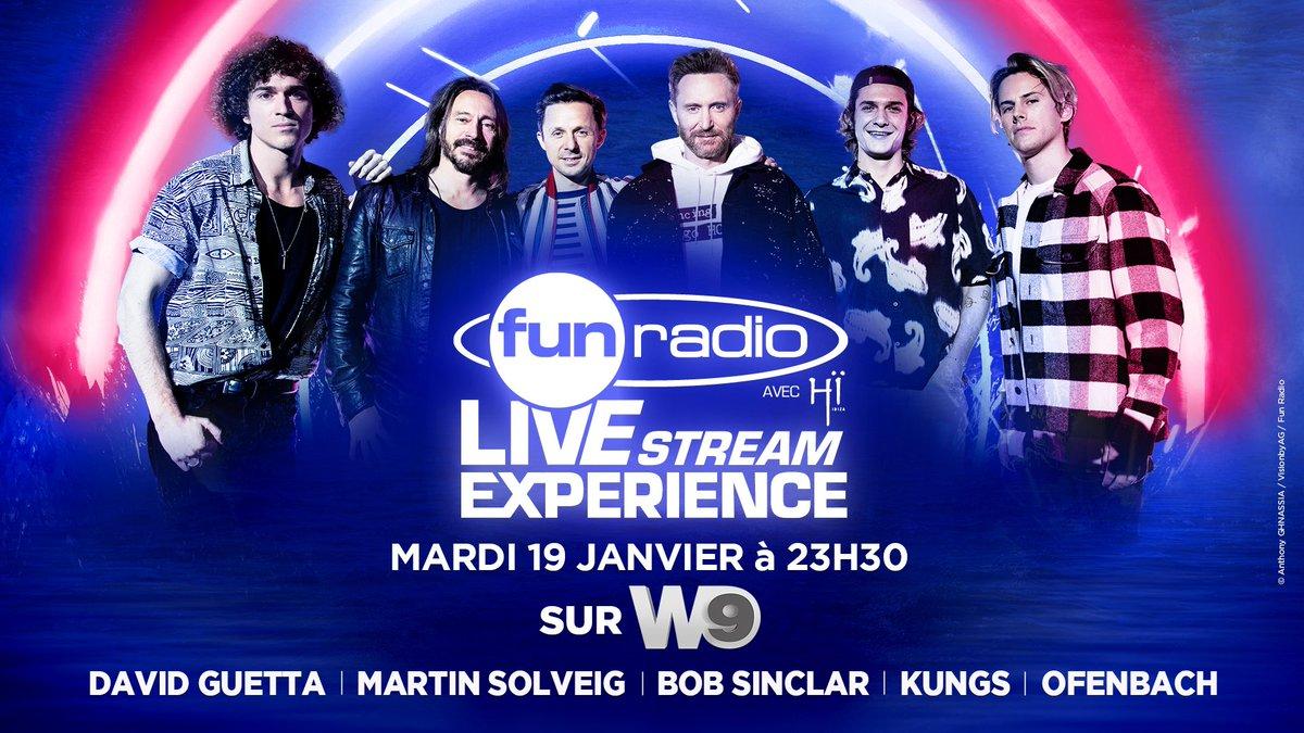 #FunRadioLiveStreamExperience 👉 rendez-vous ce soir à 23H30 sur @W9 pour revivre le show avec @davidguetta @martinsolveig @bobsinclar @KungsMusic et Ofenbach ♥️