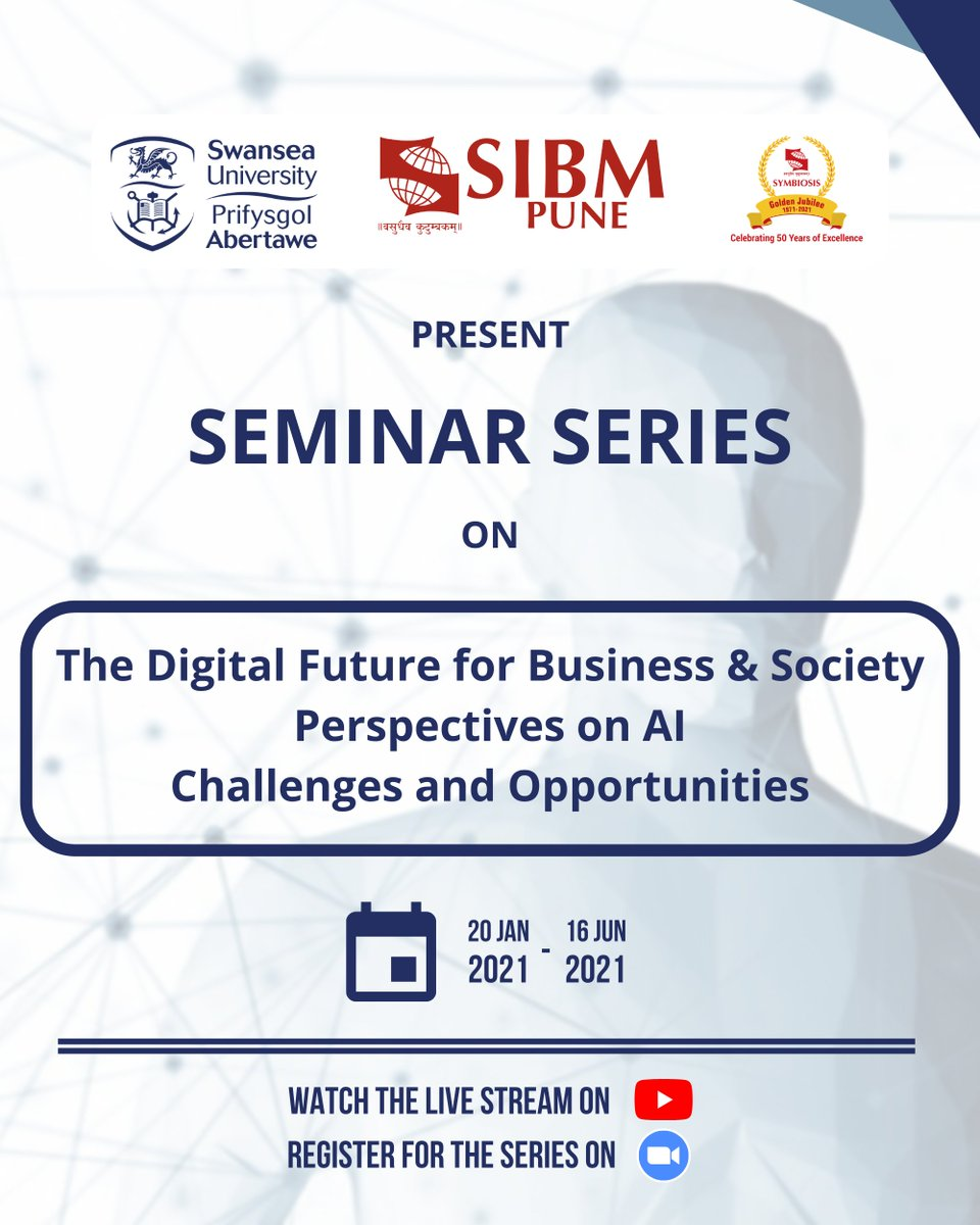 """SIBM Pune is proud to announce that we will be hosting a seminar series with Swansea University on the theme """"The Digital Future for Business & Society; Perspectives on AI: Challenges and Opportunities"""".   @SwanseaUni  #SIBMPune #SwanseaUniversity #DigitalFuture #AI https://t.co/bGN2DugC9N"""