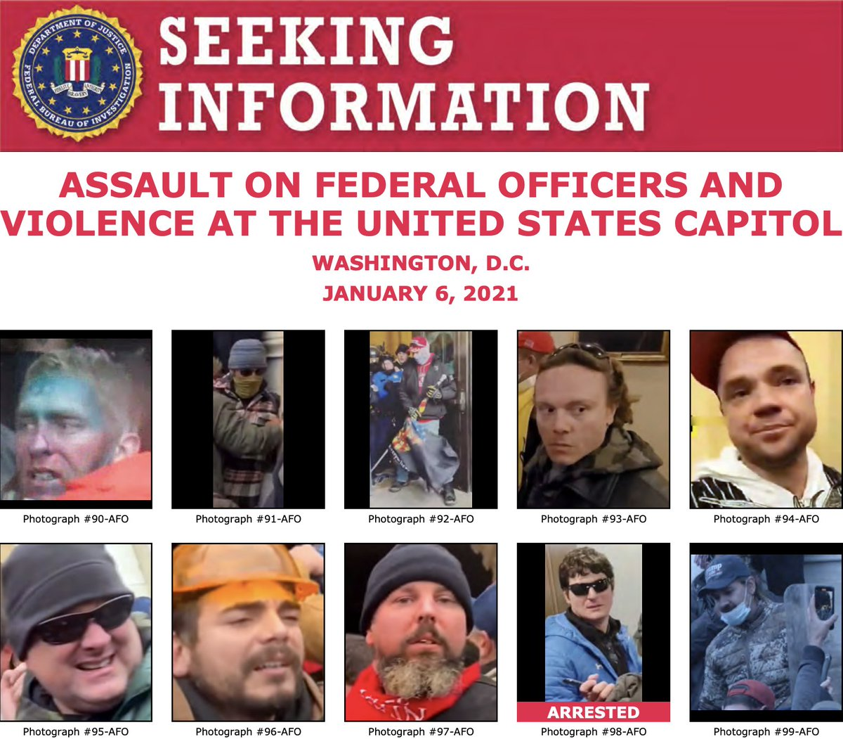 The #FBI is still seeking to identify individuals who instigated violence at the U.S. Capitol on January 6. We've updated some posters with better photos of unidentified individuals. Please take another look at , and submit tips to .