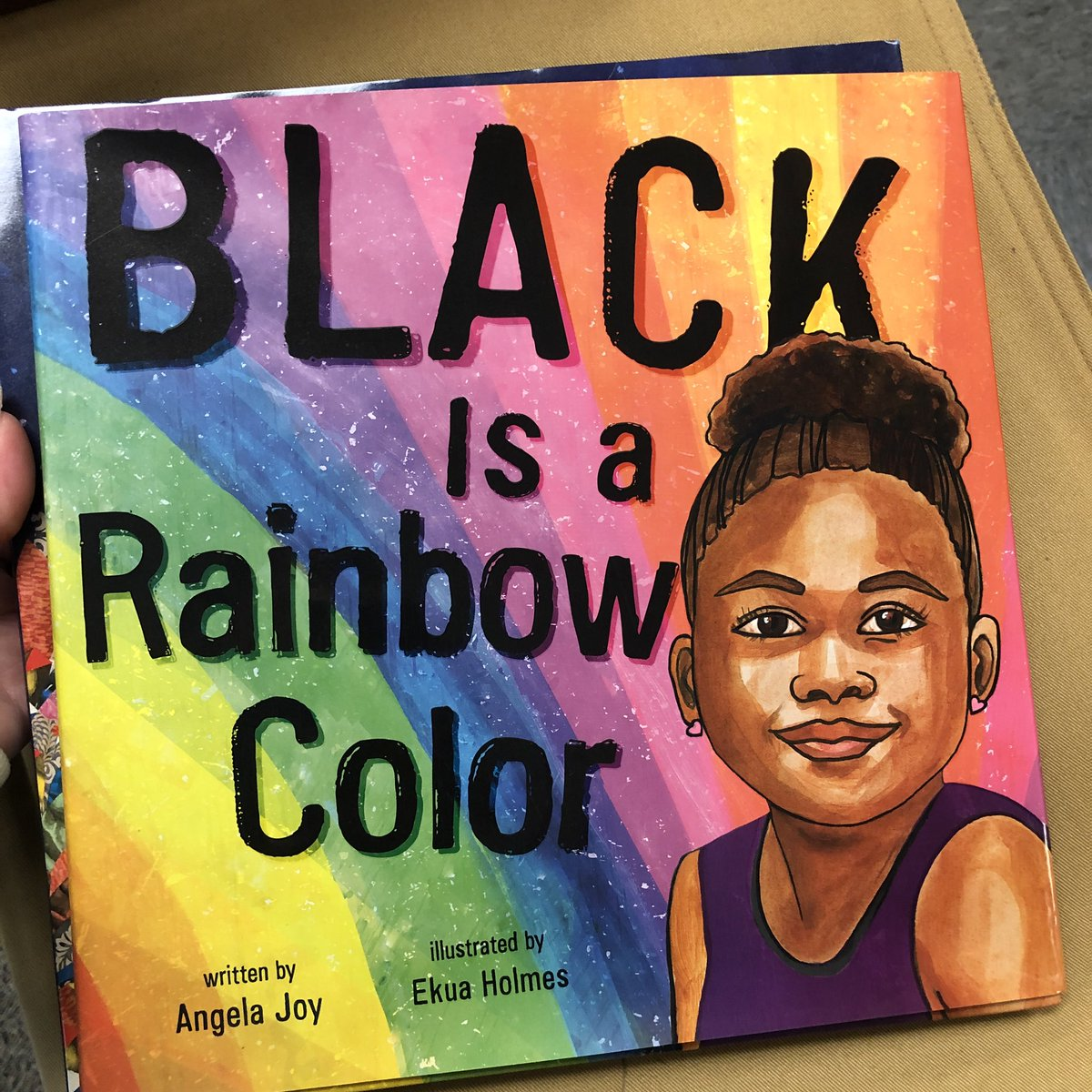 Today, to celebrate #MLKDay, I read Angela Joy's Black is a Rainbow Color. This celebrates that Black is not about the color of your skin, but is about the rainbow of things that make up the culture. #reaganrays #1LISD