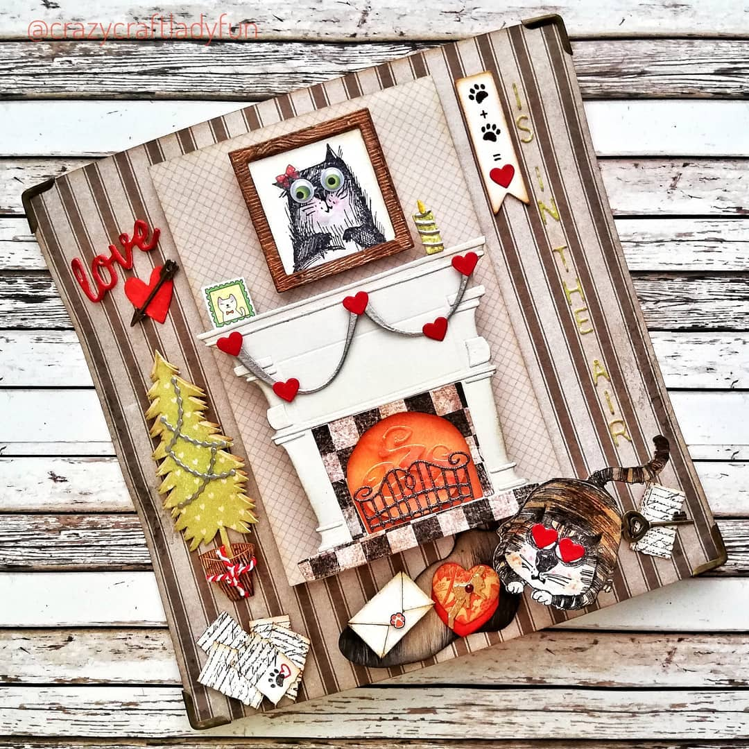 the love shack of mr. + mrs. snarky cat 😻 see all the de-tails?  ✂️ #handmade by @crazycraftladyfun  #meow #snarkycats #loveshack #stampersanonymous #onlineshopping #crafts #diy #mixedmedia #besidethefire #mrandmrs  #catloversofinstagram #timholtz #timholtzstamps