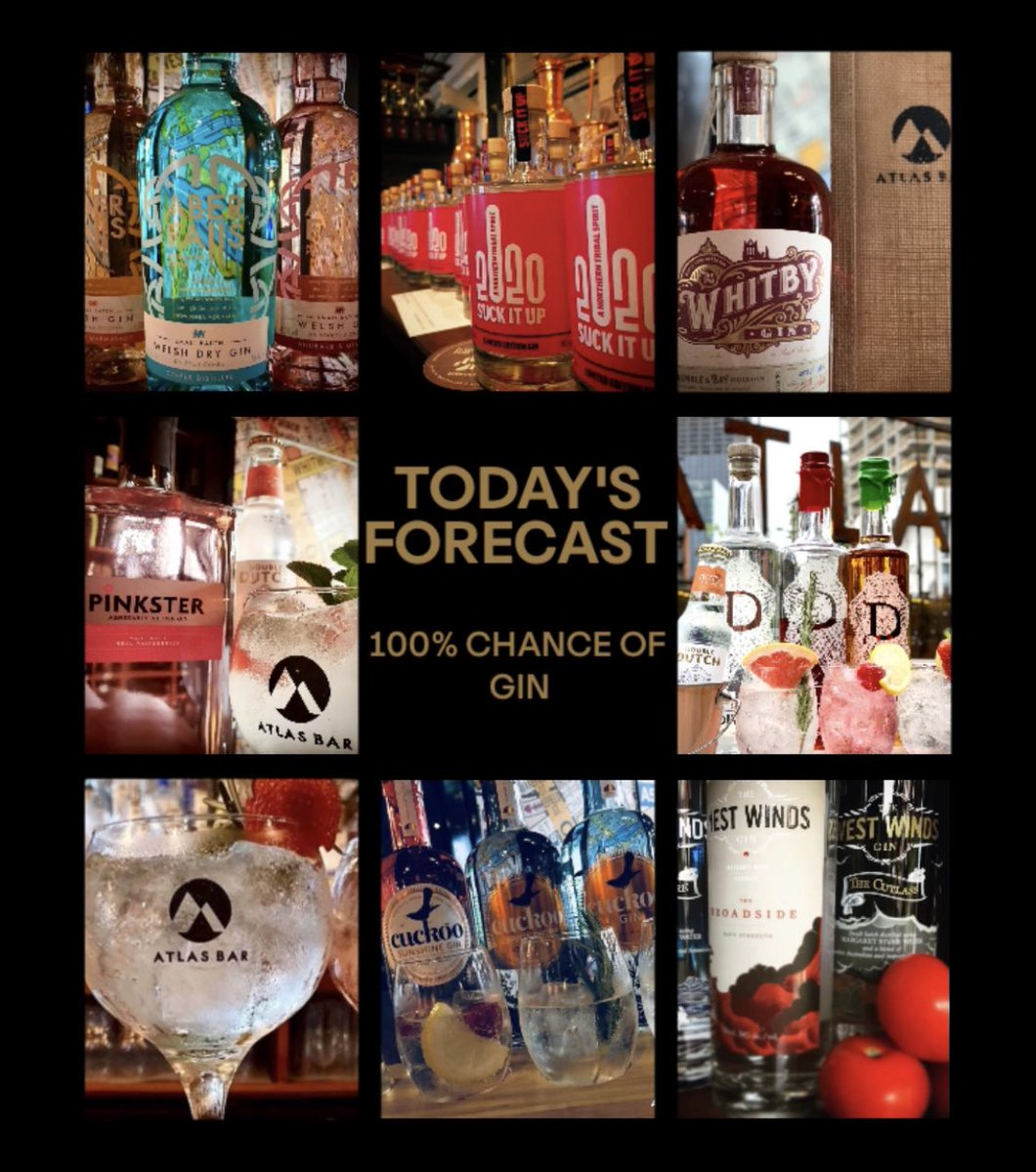 #StormChristoph has arrived #Manchester 🌧  Our daily forecast @TheAtlasBar is always #Gin 🍸  @aberdistillery @DefianceSpirits @CuckooGin @GinWhitby @gindivine @PinksterGin @TheWestWindsGin @DoubleDutchMix 🎉