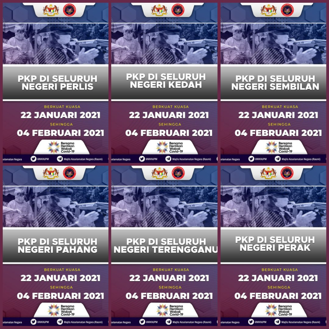 ... & should show the true impact & effectiveness of MCO 2.0 in reducing cases, which in turn will dictate if MCO 2.0 will be extended  On that note,  #MCO2 #PKP2021  on Jan 22 - Feb 4 for   •Perlis   • Kedah   • Perak   • Negeri Sembilan   • Pahang   • Terengganu  [4/12] https://t.co/fRu3kxog99