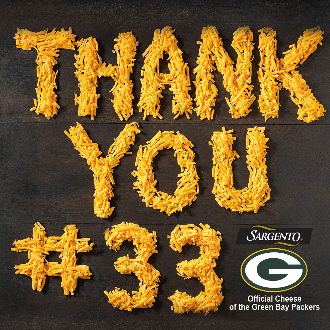 We're sending a special 'Thank You' to @Showtyme_33 for making a real difference in our #TDForHunger🧀 program. Our donation toward WI hunger relief is $140K and counting - with 10 TDs from #33 himself! #GoPackGo
