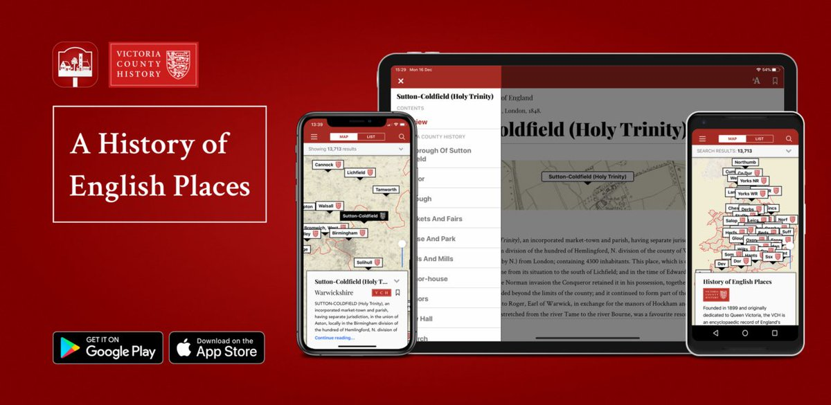 Looking for some purpose to your daily #lockdown walk? Download our #free @VCH_London smartphone app! Discover the hidden #history of your local area, with content for 13,713 places across #England, plus layered historic #maps. aimermedia.com/app/english-pl…