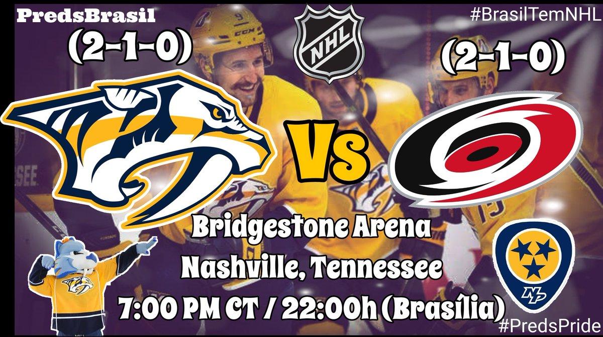 #GameDay Back-to-back @PredsNHL (2-1-0)  🆚 @CanesBrasil (2-1-0) 🏟 @BrdgstoneArena, Nashville, TN ⏰ 7:00 PM CT / 22:00h (Brasília) 🏒 Forsberg 3P / Arvidsson 3P 🏒 Svechnikov 3P / Trochek 2P  #Preds L10 (2-1-0) #LetsGoCanes L10 (2-1-0)  #CARvsNSH #Smashville #BrasilTemNHL