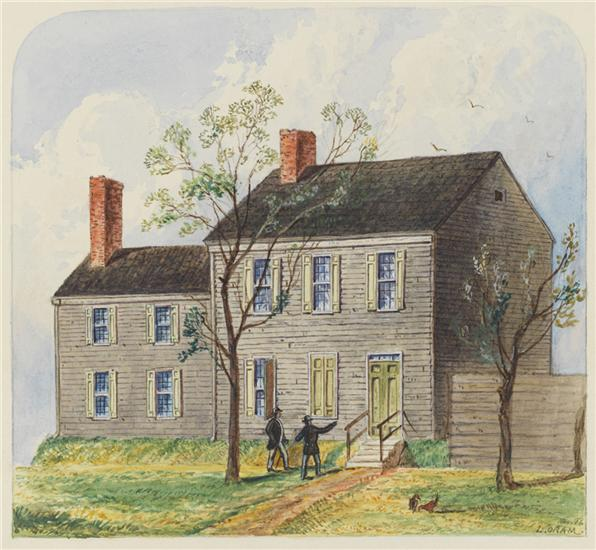 Happy Birthday to writer and poet #EdgarAllenPoe, who was born #OnThisDay in 1809. His home, the Poe Cottage, still stands in the Fordham neighborhood of the Bronx. 🏡 🏡 🏡  🎨 : Louis Oram, Residence of Edgar Allen Poe,1845, 29.100.2428