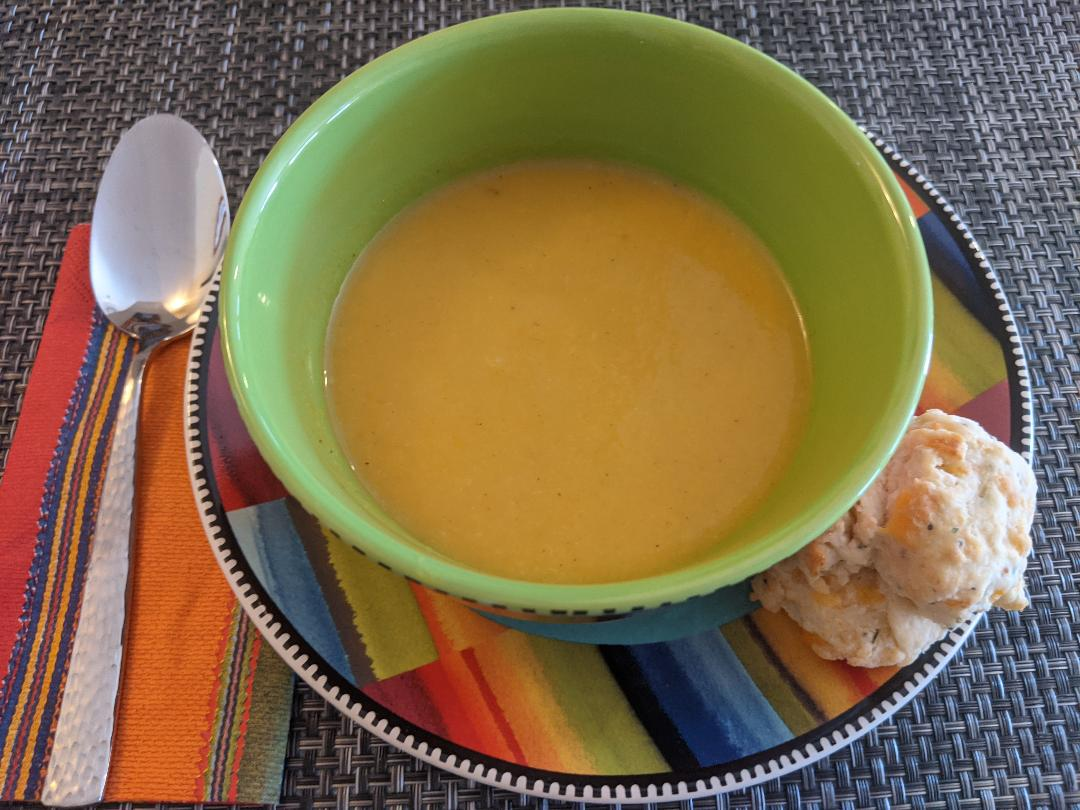 Roasted Butternut Squash and Pear Soup  Brims with flavors of caramelized #pears, #butternutsquash with hints of #maple and #ginger. It's the perfect #soup for a #wintryday.