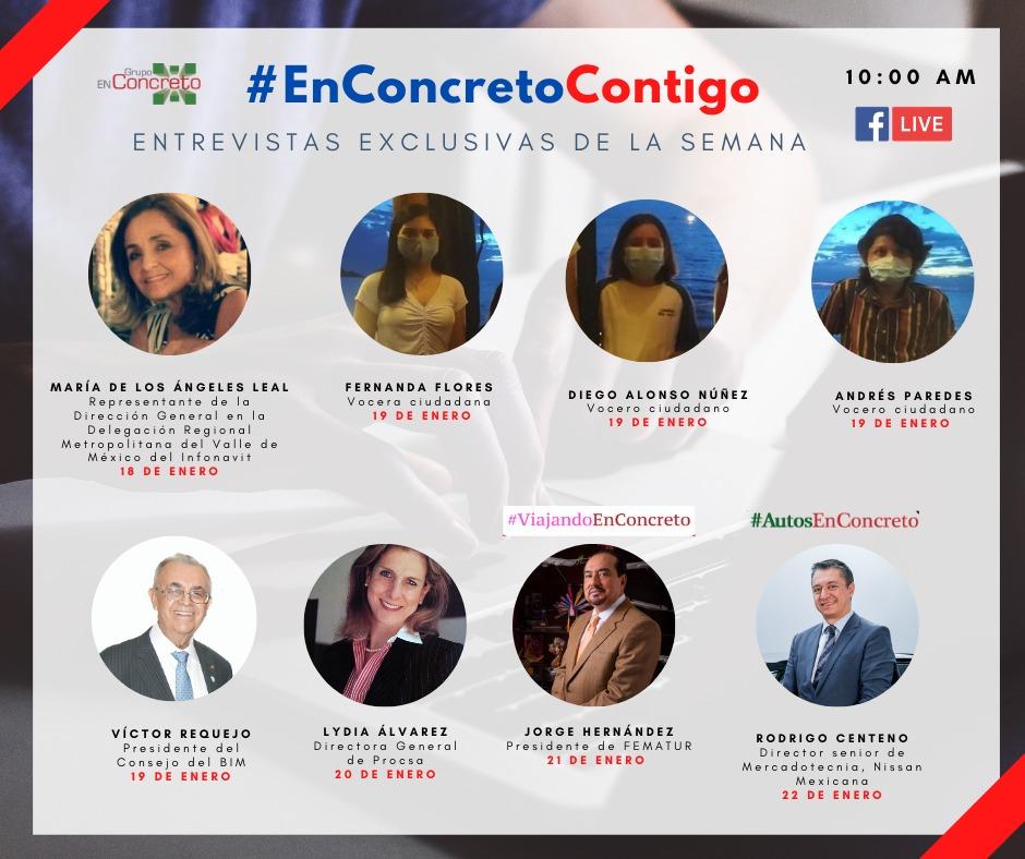 📰. #infórmate   Todos los días entrevistas exclusivas con expertos de la industria, @marielzuniga_ y @hugoloyao en #EnConcretoContigo.  FbLive Selfie: https://t.co/iGTmv1S6yh  Zoom: https://t.co/ga3uoj91cD https://t.co/au43BvXVtH