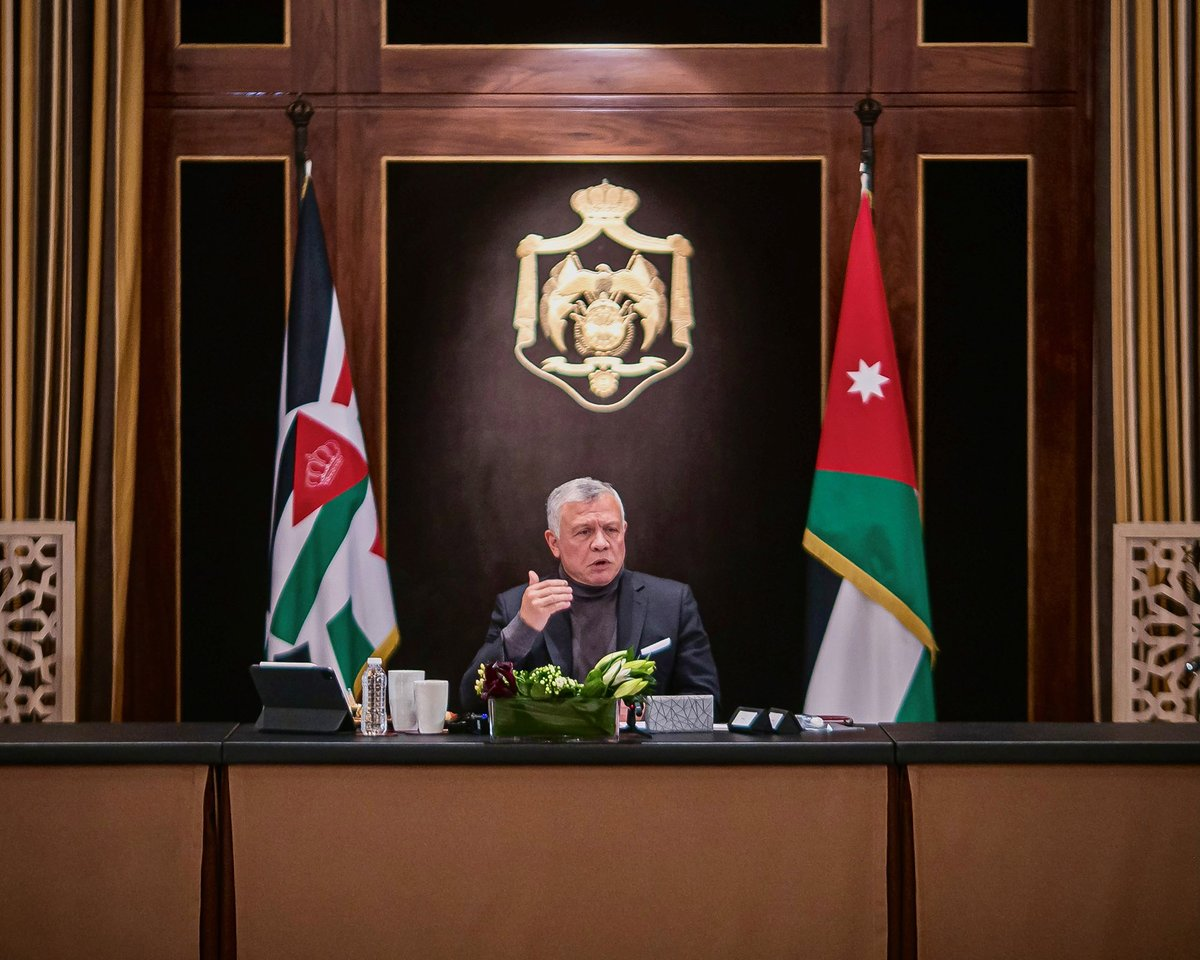 His Majesty King Abdullah II meets with Senate president, House speaker, and members of the Chambers' permanent offices, reaffirms need to enhance cooperation between legislative, executive branches, and notes importance of Parliament's Code of Conduct in increasing public trust