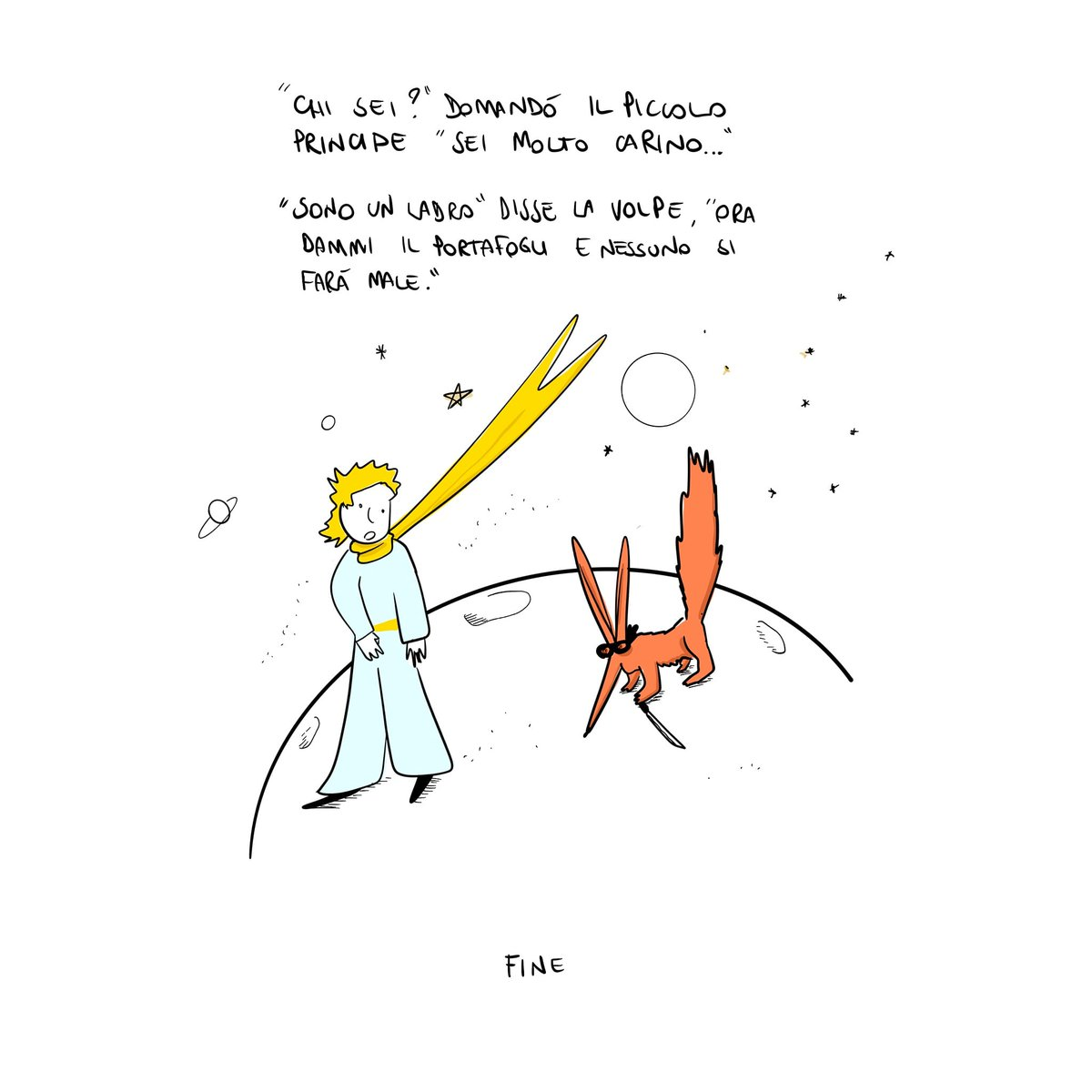 """La morale è che Il piccolo principe ha rotto il cazzo!  E anche quel """"L'essenziale è invisibile agli occhi"""", l'anatema che uccide.  #ilpiccoloprincipe #saintexupery #narrativa #lessenzialeèinvisibileagliocchi #lanatemacheuccide #GianlucaMaroli #Maró #sketch #fun https://t.co/fmr5DPr2LZ"""
