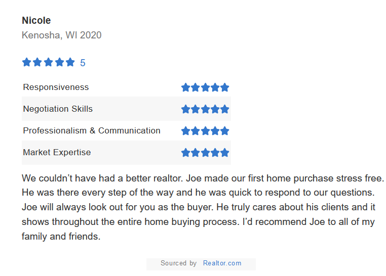 It always makes my day to see a review like this. If you are looking to SELL your home please give me a call. I have SEVEN preapproved buyers waiting! 224-440-2100  #Homesmartconnect #realtor #realestate #Illinois #Wisconsin #IL #WI #tuesdayvibe #tuesdaymood #TuesdayFeeling #home