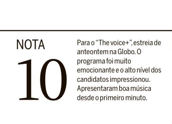 Quem concorda com a nota da @PatriciaKogut para a estreia do @TheVoiceBrasil curte aqui 😍🙋♀️ | Time CL