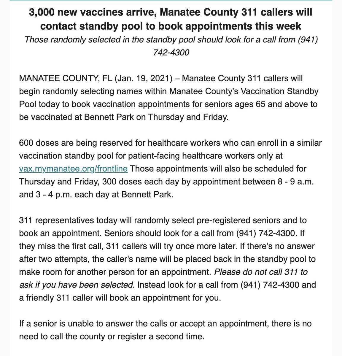 3,000 additional vaccines have arrived in Manatee County. Here's what you need to know.   If you're already in standby pool, you may receive a call from (941) 742-4300 to book an appt for Thurs/Fri. If you're not in the pool, sign up today at https://t.co/juSypIKZrv https://t.co/1cW3VMKUZb