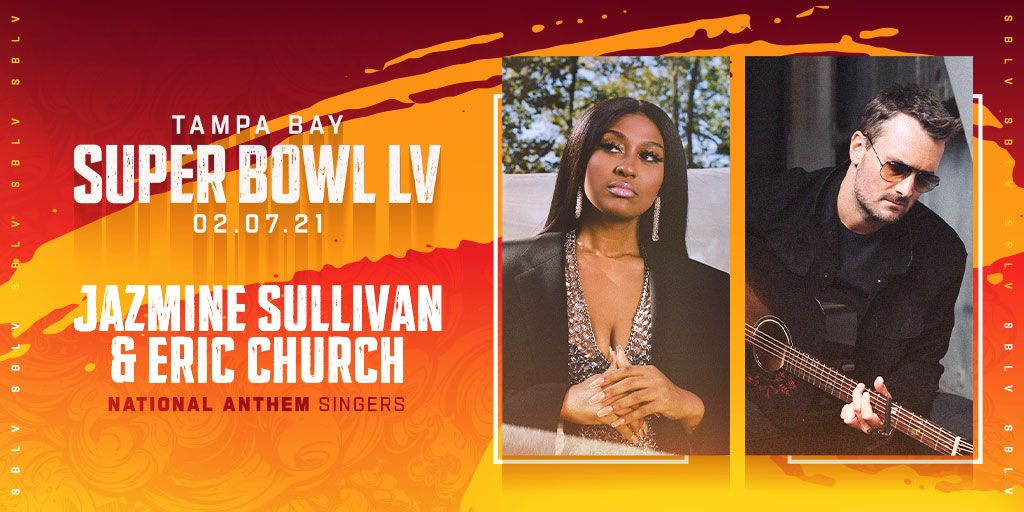 Eric Church will join @jsullivanmusic to sing the National Anthem for Super Bowl LV! Make sure to tune-in on Feb 7 to the Super Bowl on @CBS Kick-Off Show at 6 PM ET #SBLV @NFL