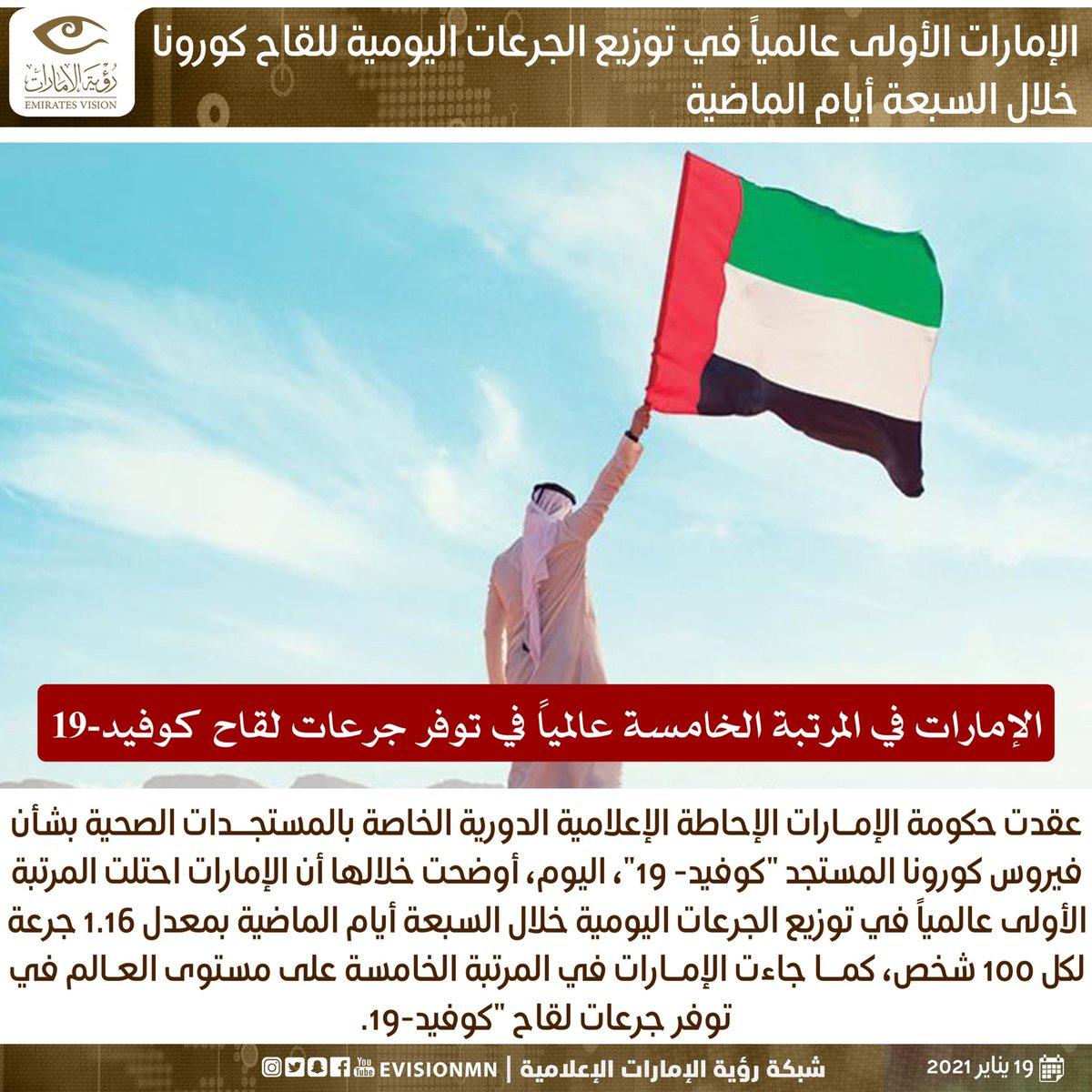 #الإمارات الأولى عالمياً في توزيع الجرعات اليومية للقاح #كورونا خلال السبعة أيام الماضية . #رؤية_الإمارات #عين_في_كل_مكان #كورونا #دبي #الامارات