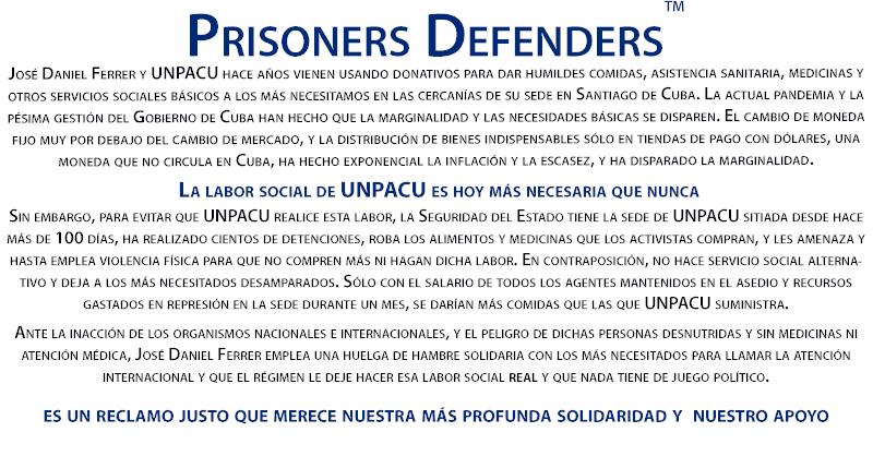 @CubanDefenders apoya la defensa pacífica del derecho a dar de comer a +100 personas/día que #UNPACU asume frente a la #SeguridaddelEstado de #Cuba, que roba sus alimentos y, con detenciones y amenazas, impide su labor social sin dar alternativa a los +necesitados @jdanielferrer