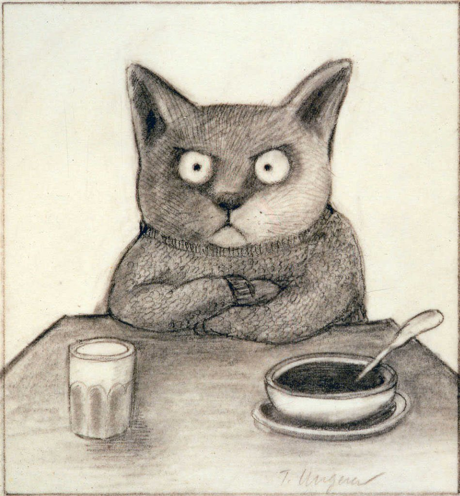 Untitled, by Tomi Ungerer 1979.  I bet we could think of some titles, though. 😆 #art #cats #sketch https://t.co/TeJDFzAVS5