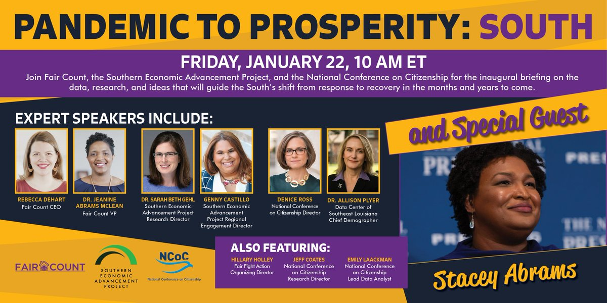 DON'T FORGET: This Friday at 10am ET, we're partnering with @The_SEAP and @NCoC for 'Pandemic to Prosperity: South,' a briefing on the data, research & ideas that will guide our shift from response to recovery in the years to come. Sign up here 👇🏾