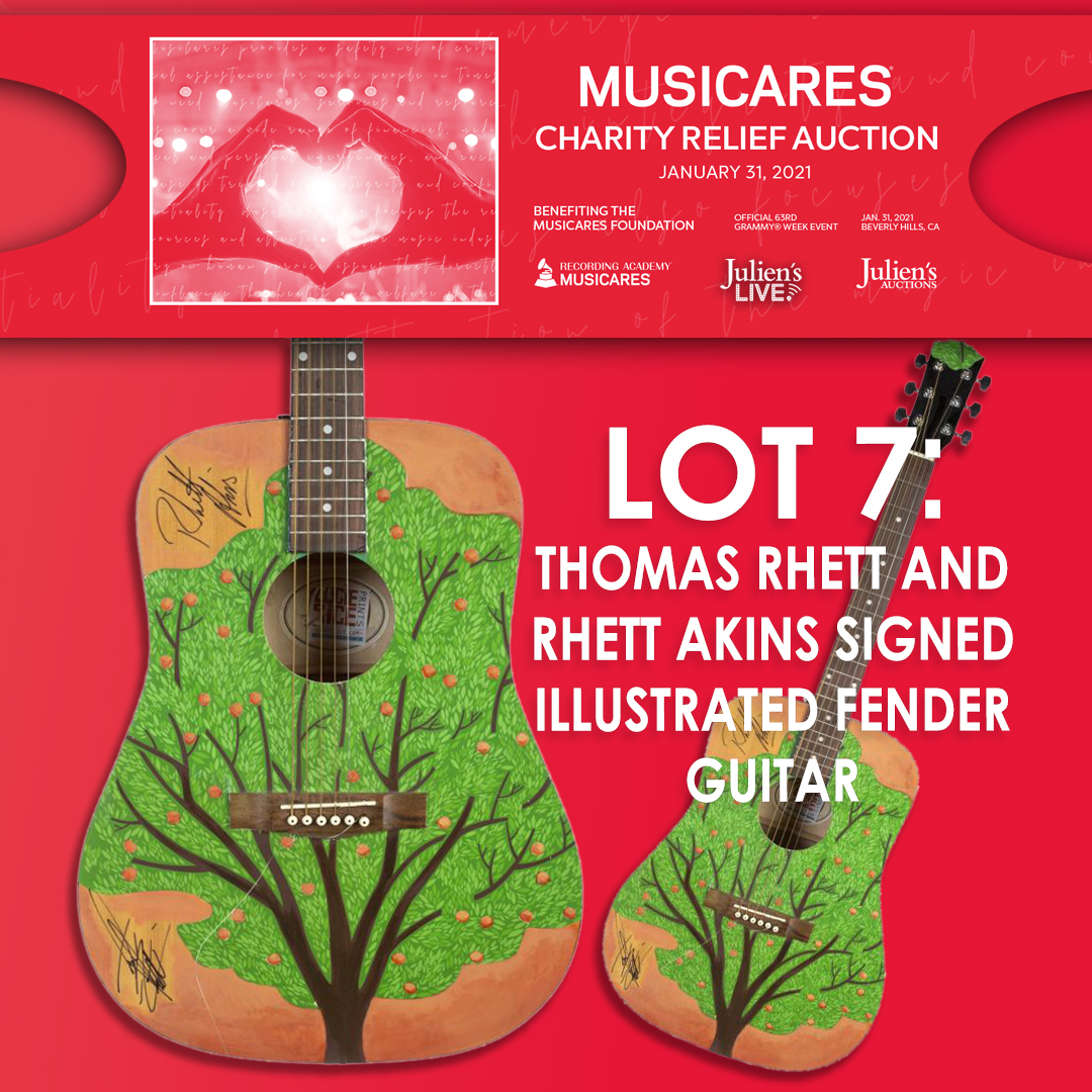 @JuliensAuctions is proud to present @MusiCares charity relief auction taking place in Beverly Hills and live online at Julien's Live on Sunday, January 31st, 2021. #Thomasrhett #rhettatkins #GRAMMYs