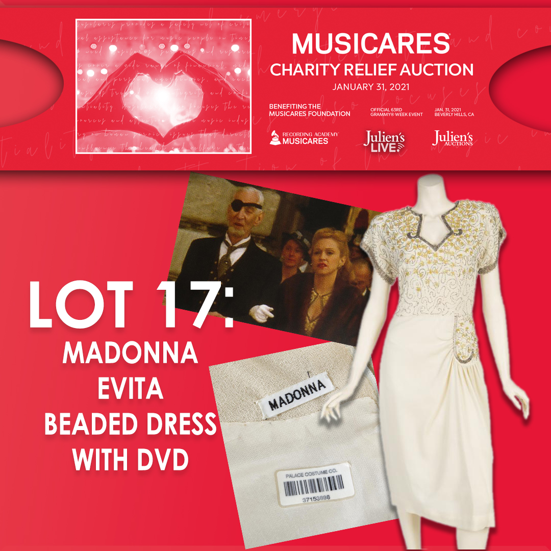 @JuliensAuctions is proud to present @MusiCares charity relief auction taking place in Beverly Hills and live online at Julien's Live on Sunday, January 31st, 2021. #Madonna #evita #GRAMMYs