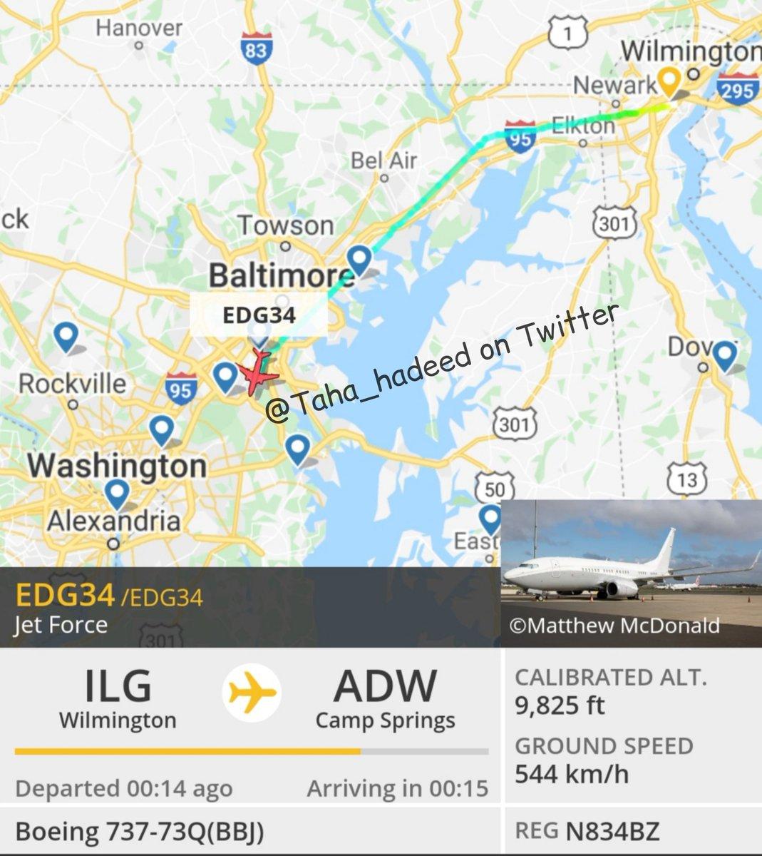 جو #بايدن @JoeBiden يتجه إلى #واشنطن لحضور حفل تنصيبه رئيسا للولايات المتحدة، طائرة Boeing 737 reg. N834BZ