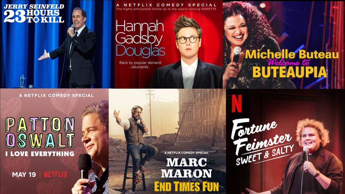Last night Netflix comics nabbed all six Best Comedy Special @criticschoice nominations! We're so proud. Congrats @JerrySeinfeld, @Hannahgadsby, @MichelleButeau, @pattonoswalt, @marcmaron & @fortunefunny!!!