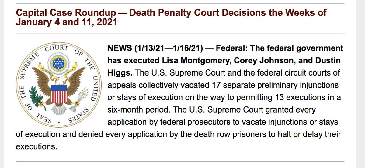 The federal government executes #CoreyJohnson without judicial review of his intellectual disability; #SCOTUS vacates two stays of execution, denies two others in late-night execution of #LisaMontgomery. Read the 1/11-17/21 This Week From @DPInfoCtr here: