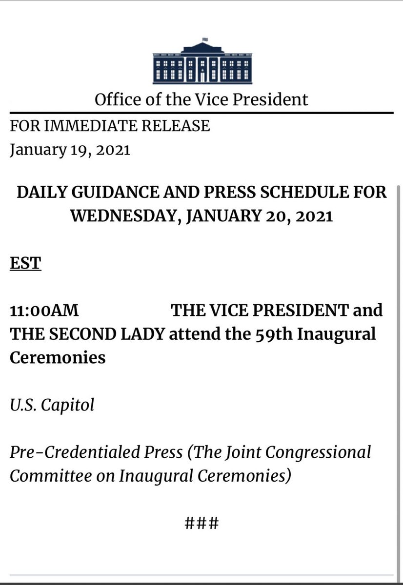 Pence foregoes Trump's attempted send off ceremony at the airport for President Elect Biden's #InaugurationDay tomorrow