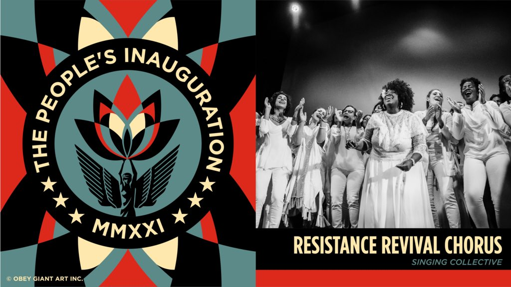 During the #PeoplesInauguration, we'll be blessed with the sounds of the @ResistanceRev 🎶+ a conversation between @AmericaFerrera + @valariekaur. Register to join us: bit.ly/ActivateRevolu… Art: @obeygiant