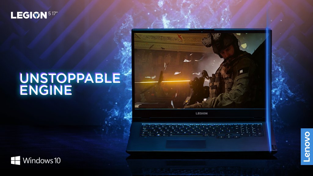 "More cores. More performance. The Legion 5 17"" is powered by the all new AMD Ryzen™ 5000 H Series Mobile Processors and NVIDIA® GeForce RTX™ 30 Series Laptop GPUs.  @Windows  10 unlocks the full potential of your system's hardware."